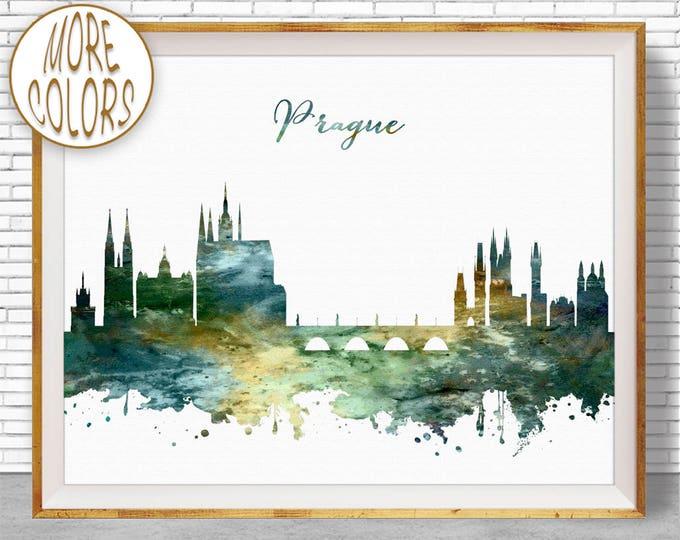 Prague Print, Prague Skyline, Prague Czech Republic, Office Decor, City Skyline Prints, Skyline Art, Cityscape Art, ArtPrintZone