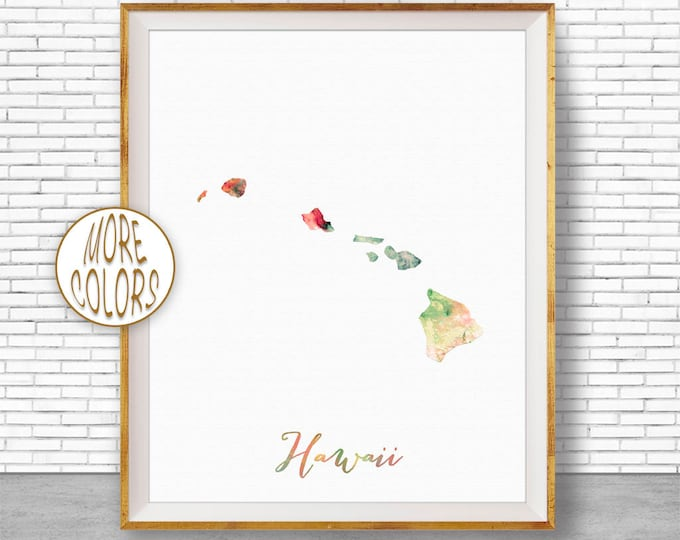 Hawaii Map Art Print Hawaii Art Print Hawaii Decor Hawaii Print Map Artwork Map Print Map Poster Watercolor Map ArtPrintZone