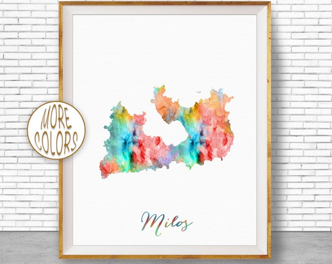 Milos Print Milos Greece Milos Map Art Watercolor Map Map Painting  Office Decorations Country Map ArtPrintZone