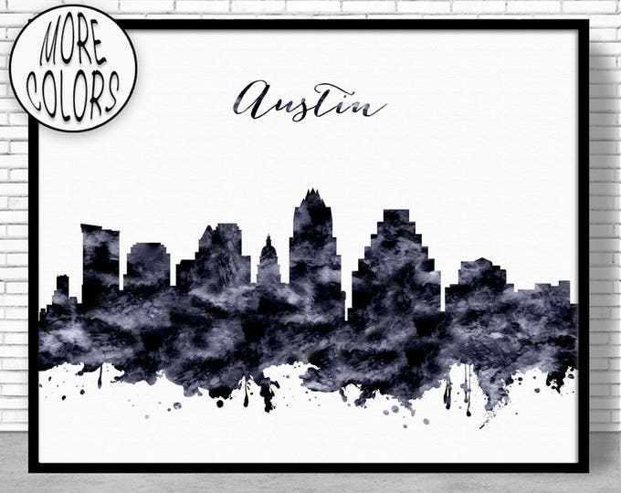 Austin Print Austin Skyline Austin Texas Office Decor Office Art Travel Poster Watercolor City Print ArtPrintZone Christmas Gifts