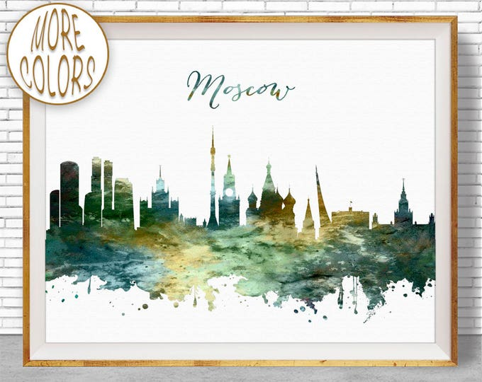 Moscow Print, Moscow Skyline, Moscow Russia, Office Decor, Office Art, Watercolor Skyline, Watercolor City Print, ArtPrintZone