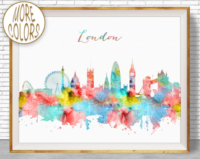 London Skyline, London Print, London United Kingdom, Office Decor, Office Art, Watercolor Skyline, Watercolor City Print, ArtPrintZone