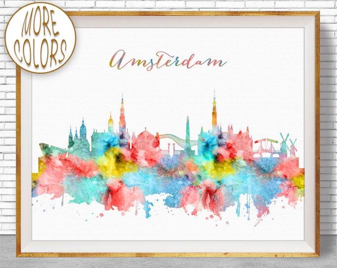 Amsterdam Skyline, Amsterdam The Netherlands, Amsterdam Art Print, Office Decor, Office Art, Watercolor City Prints, ArtPrintZone