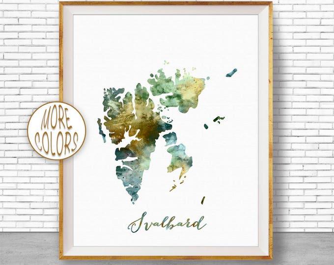 Svalbard Map Art Svalbard Print Watercolor Map Map Painting Map Artwork  Office Decorations Country Map ArtPrintZone