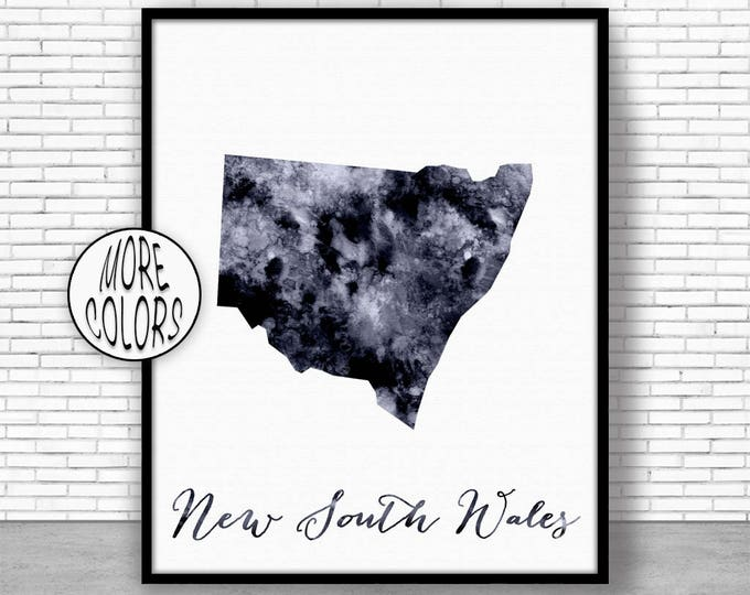New South Wales Art Print Home Decor New South Wales Map Art Wall Prints Wall Art Home Wall Decor Watercolor Painting ArtPrintZone
