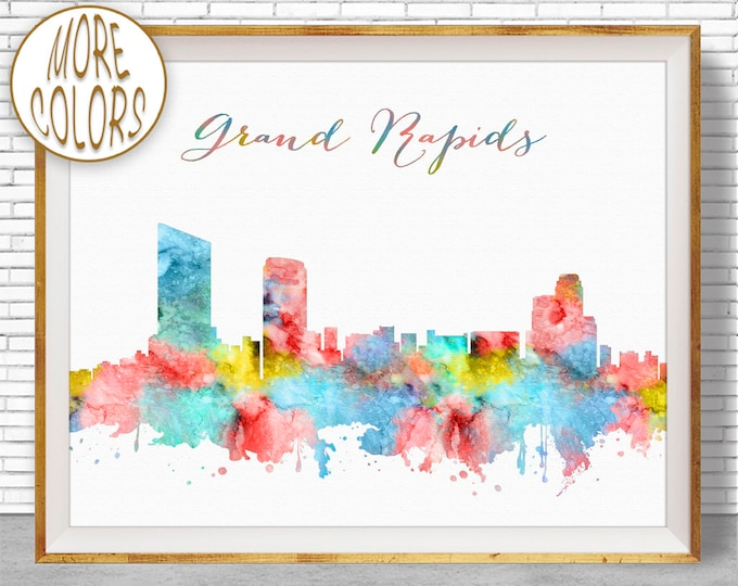 Grand Rapids Michigan Grand Rapids Print Grand Rapids Skyline Office Decor Office Art Travel Poster City Art Print ArtPrintZone