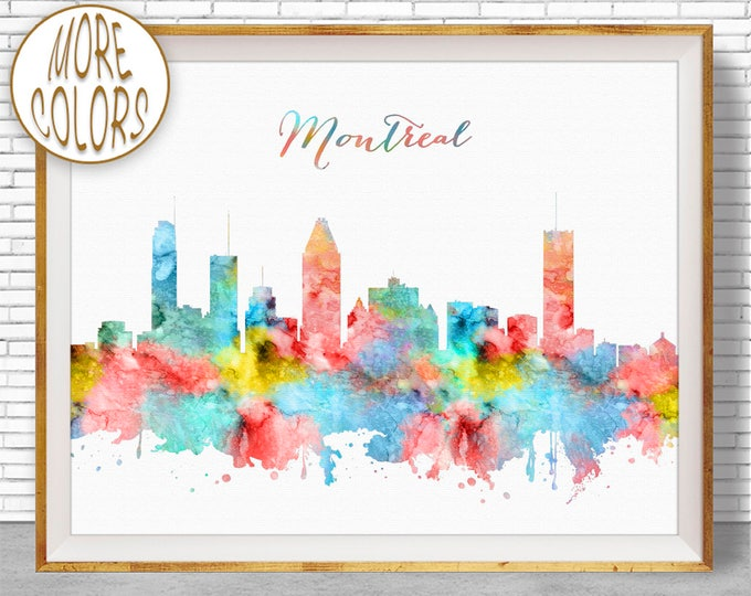 Montreal Art Print Montreal Skyline Montreal Canada Office Prints Office Art Watercolor Skyline Watercolor City Print ArtPrintZone