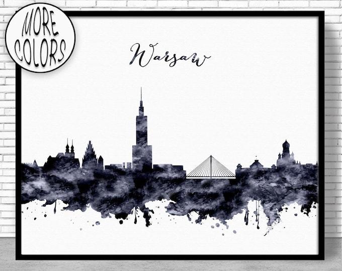Warsaw Print Warsaw Skyline Warsaw Poland Office Wall Art City Skyline Prints Skyline Art ArtPrintZone