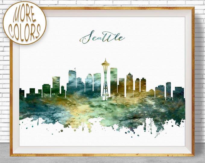 Seattle Print Seattle Skyline Art Seattle Washington Office Gifts Office Decor City Skyline Prints ArtPrintZone