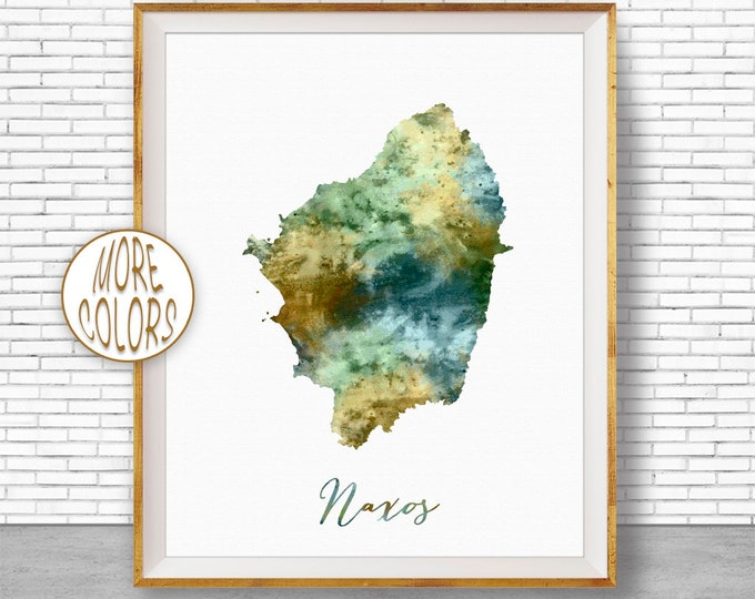 Naxos Print, Naxos Map Art, Greek Islands, Naxos Greece Watercolor Map Map Painting Office Decorations Country Map ArtPrintZone