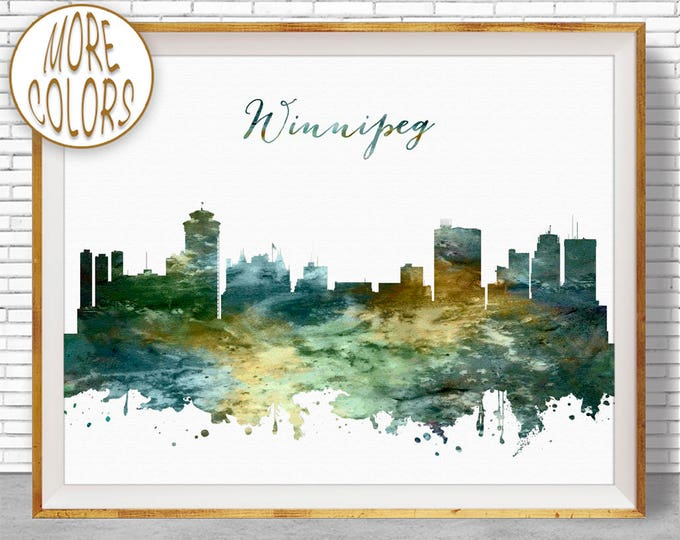 Winnipeg Print, Winnipeg Skyline, Winnipeg Alberta, Office Decor, Office Art, Watercolor Skyline, Watercolor City Prints, ArtPrintZone
