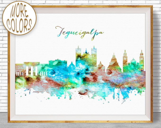 Tegucigalpa Print Tegucigalpa Skyline Tegucigalpa Honduras City Wall Art Office Art Watercolor Skyline Watercolor City Print ArtPrintZone