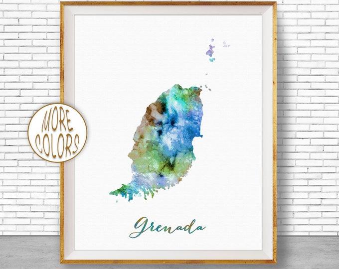 Grenada Print Office Art Print Watercolor Map Grenada Map Print Map Art Map Artwork Office Decorations Country Map ArtPrintZone