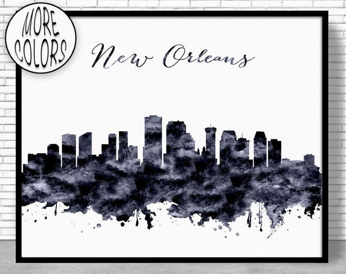 New Orleans Print New Orleans Skyline New Orleans Louisiana City Wall Art City Skyline Prints Skyline Art ArtPrintZone