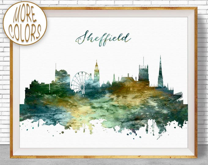 Sheffield Print, Sheffield Skyline, Sheffield United Kingdom Office Decor Office Art Watercolor Skyline, Watercolor City Print, ArtPrintZone