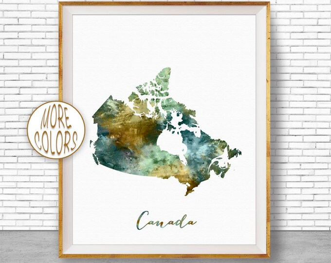 Canada Map Art Canada Print Watercolor Map Map Painting Map Artwork  Office Decorations Country Map ArtPrintZone