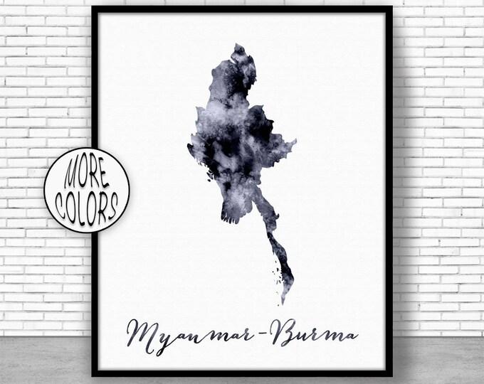 Myanmar Print Myanmar Art Print Watercolor Print Myanmar Map Decor Wall Art Prints ArtPrintZone