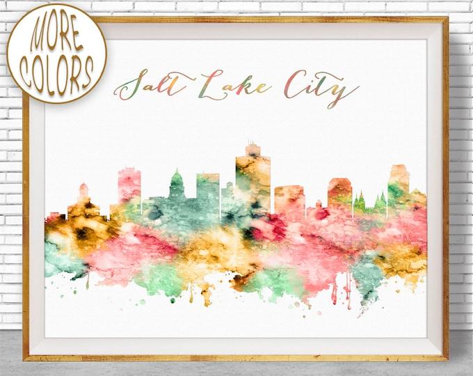 Salt Lake City Art Salt Lake City Utah Salt Lake City Skyline City Skyline Prints Skyline Art ArtPrintZone