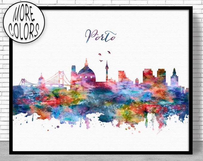 Porto Print, Porto Skyline, Porto Art, Porto Portugal, Office Decor, City Skyline Prints, Skyline Art, Cityscape Art, ArtPrintZone