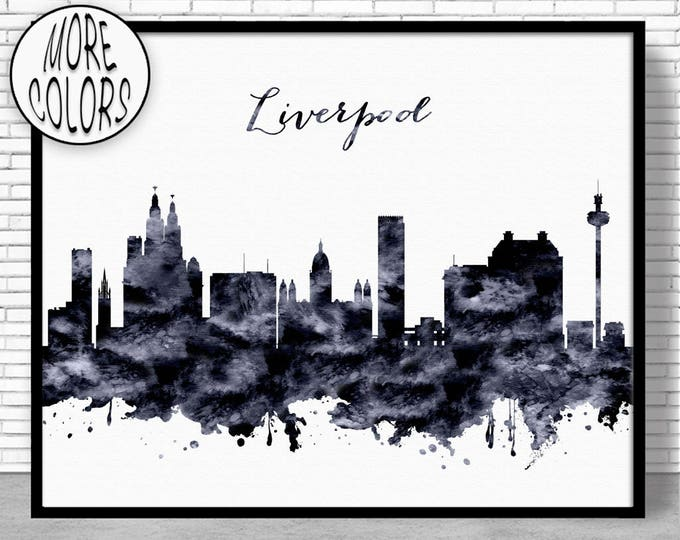 Liverpool Print Liverpool Skyline Liverpool United Kingdom Office Decor Office Art Watercolor Skyline Watercolor City Print ArtPrintZone