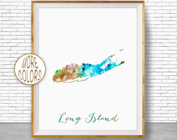 Long Island Map Art Print New York Print New York Art Map Print Office Art Map Poster Watercolor Map Office Poster ArtPrintZone