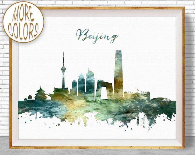 Beijing Skyline, Beijing China, Beijing Print, Beijing Art City Wall Art Office Art, Watercolor Skyline, Watercolor City Print, ArtPrintZone