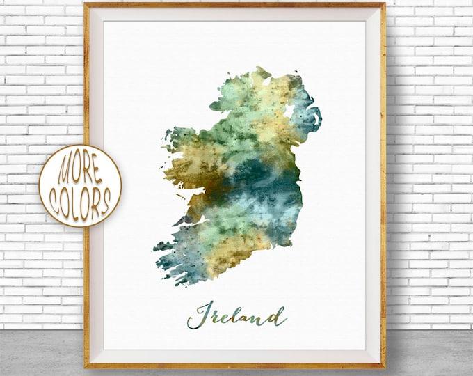 Ireland Map Art Ireland Print Watercolor Map Map Painting Map Artwork  Office Decorations Country Map ArtPrintZone