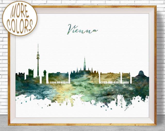 Vienna Print, Vienna Skyline, Vienna Austria, Office Wall Art, City Skyline Prints, Skyline Art, Cityscape Art, ArtPrintZone