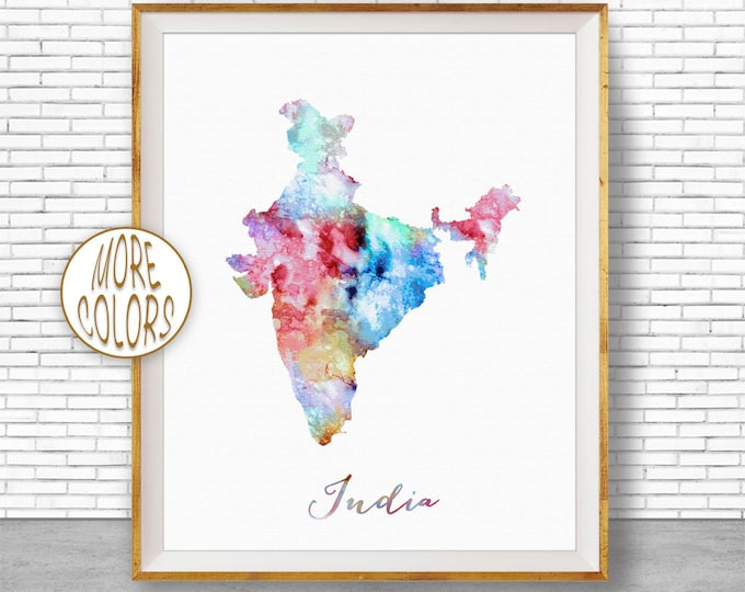 India Map Decor India Print India Art Print Watercolor Print Wall Art Prints ArtPrintZone
