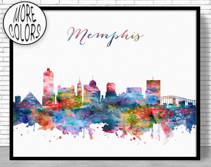 Memphis Skyline Memphis Print Memphis Tennessee Office Decor Office Art City Skyline Prints Skyline Art ArtPrintZone