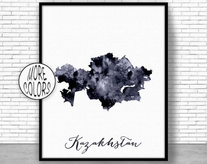 Kazakhstan Print Kazakhstan Art Print Watercolor Print Kazakhstan Map Decor Wall Art Prints ArtPrintZone