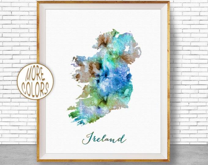 Ireland Map Art Map Painting Ireland Print Watercolor Map Map Artwork  Office Decorations Country Map ArtPrintZone