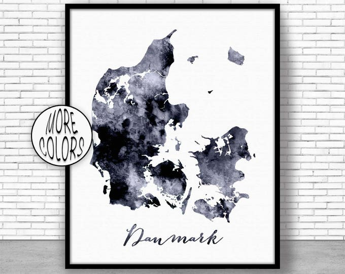 Denmark Print Watercolor Map Denmark Map Art Map Painting Map Artwork  Office Decorations Country Map ArtPrintZone