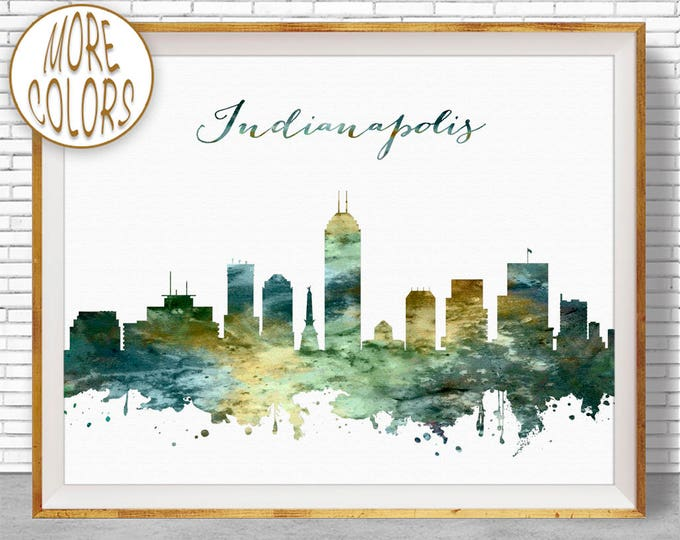 Indianapolis Print Indianapolis Skyline Indianapolis Indiana Office Gifts City Wall Art Watercolor Skyline Watercolor City ArtPrintZone