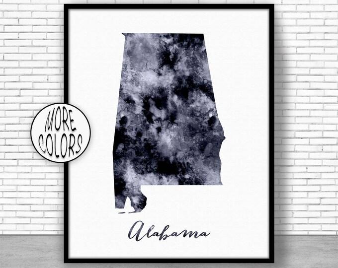 Alabama Art Print Alabama Decor Alabama Print Alabama Map Art Print Map Artwork Map Print Map Poster Watercolor Map ArtPrintZone