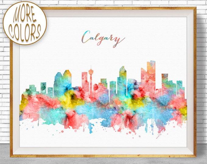 Calgary Skyline, Calgary Print, Calgary Canada, Office Decor, Office Art, Watercolor Skyline, Watercolor City Posters, ArtPrintZone