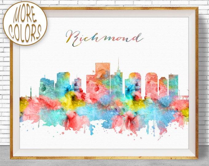 Richmond Virginia Richmond Skyline Richmond Print Office Decor City Skyline Prints Office Wall Art ArtPrintZone