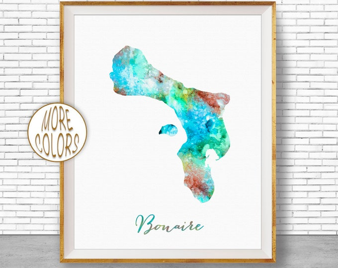 Bonaire Print, Bonaire Map Art, Caribbean Islands, Bonaire Watercolor Map Map Painting Office Decorations Country Map ArtPrintZone