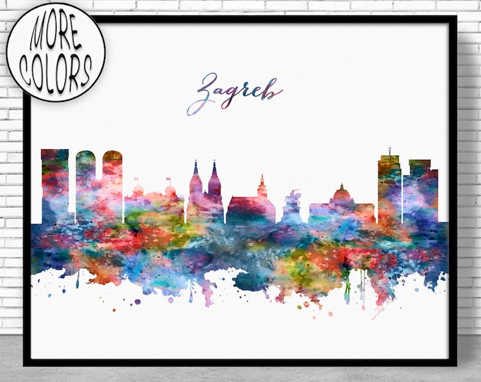 Zagreb Skyline, Zagreb Print, Zagreb Croatia, Office Decor, Office Art, Watercolor Skyline, Watercolor City Prints, ArtPrintZone