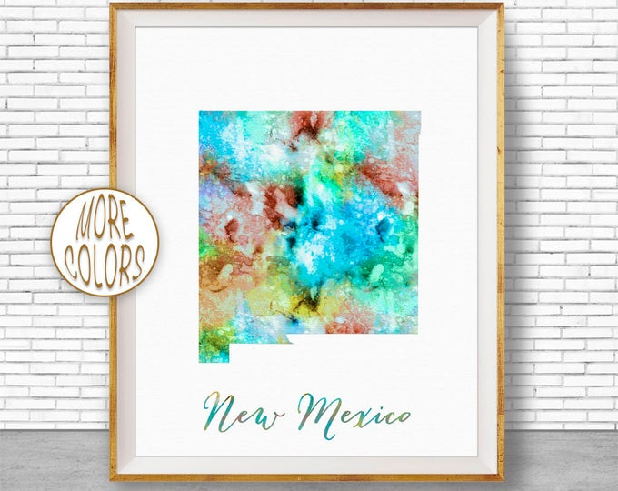 New Mexico State New Mexico Print New Mexico Map Art Print Map Print Map Poster Watercolor Map Office Decor Office Poster ArtPrintZone