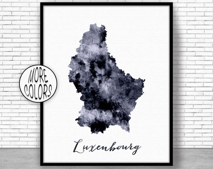 Luxembourg Print Watercolor Map Luxembourg Map Art Map Painting Map Artwork  Office Decorations Country Map ArtPrintZone