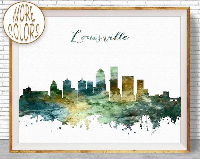 Louisville Print Louisville Skyline Louisville Kentucky Office Wall Decor City Skyline Prints Skyline Art ArtPrintZone