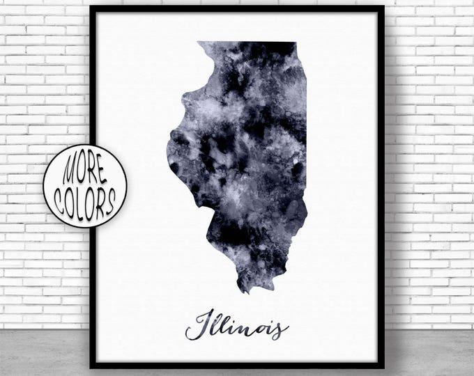 Illinois Art Print Illinois Decor Illinois Print Illinois Map Art Print Map Artwork Map Print Map Poster Watercolor Map ArtPrintZone