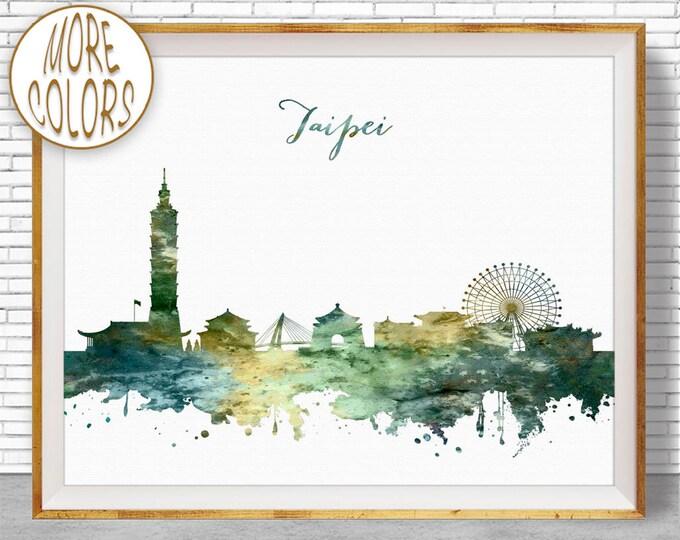 Taipei Print, Taipei Skyline, Taipei Taiwan, Office Decor, City Skyline Prints, Skyline Art, Cityscape Art, ArtPrintZone