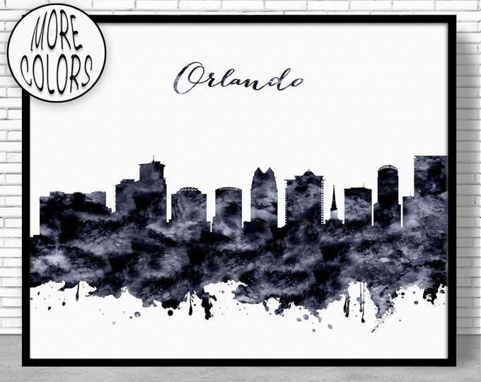 Orlando Print Orlando Skyline Orlando Florida City Wall Art Office Prints Travel Art Skyline Art Office Poster ArtPrintZoneGift for Women
