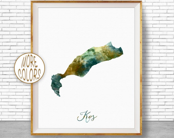 Kos Print, Kos Map Art, Greek Islands, Kos Greece Watercolor Map Map Painting Office Decorations Country Map ArtPrintZone