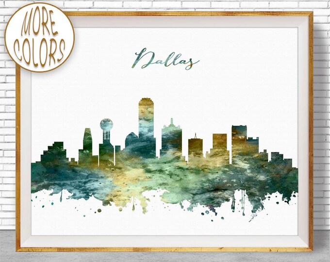 Dallas Print Dallas Skyline Dallas Texas City Wall Art Office Gifts Watercolor Skyline Watercolor City Print ArtPrintZoneGift for Women