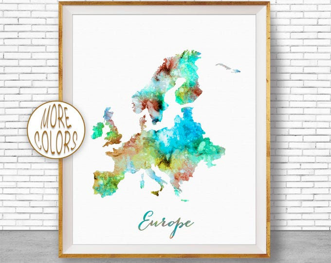 Europe Print Europe Map Europe Continent Map of Europe Map Wall Art Print Travel Map Travel Decor Office Decor Office Wall ArtGift for Women