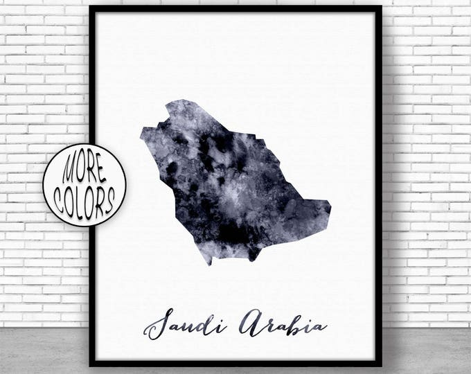 Saudi Arabia Print Saudi Arabia Art Print Home Decor Saudi Arabia Map Art Home Wall Decor Watercolor Painting Wall Prints ArtPrintZone