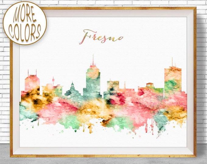 Fresno Print Fesno State Fresno Skyline Fresno California Office Decor Office Wall Art Watercolor Skyline Watercolor City ArtPrintZone